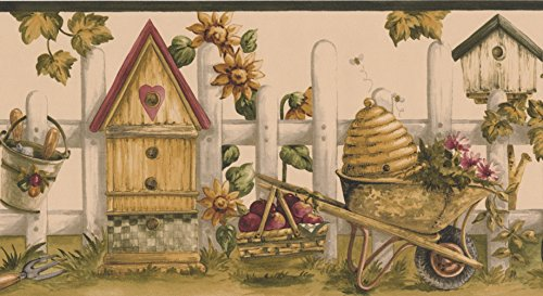 Vintage Birdhouses Sunflowers Gardening Tools Picket Fence Coconut White Wallpaper Border Retro Design, Roll 15' x 7'' ()