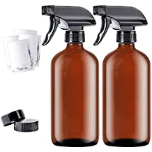 16oz Empty Amber Boston Spray Bottles (2 Pack) - Refillable Container with Trigger Sprayers, Caps and lables, Glass Bottle for Essential Oils, Cleaning, Room Spritzers or Aromatherapy by THETIS Homes