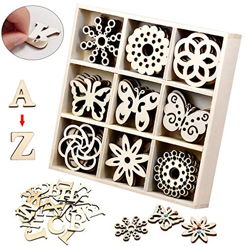 [ElekFX] Unfinished Wood Embellishments Ornament Mini Laser Cuts Wood Shapes DIY Wood Flower and Butterfly Themed for Card Gift Tags Home Decor Planner