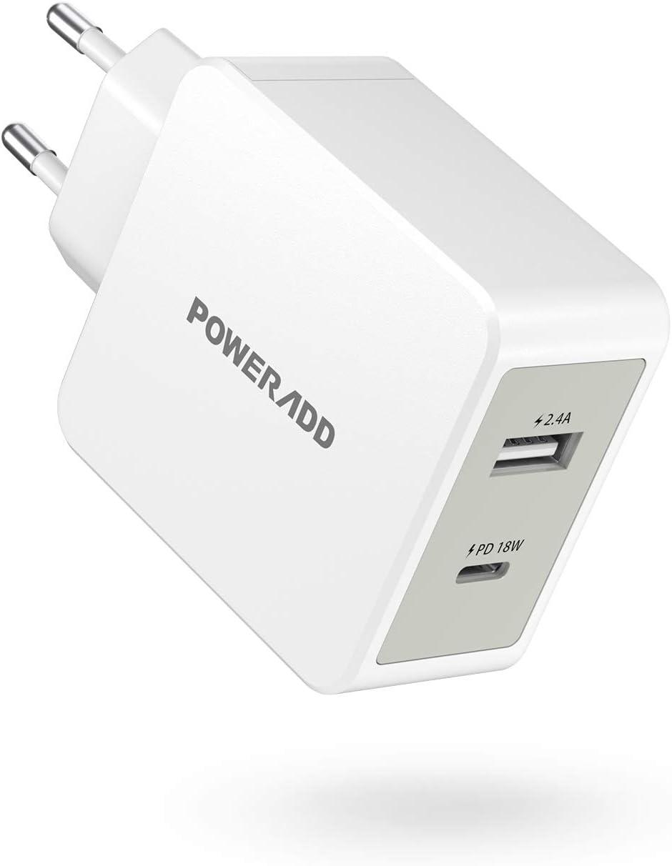 POWERADD Cargador USB Pared PD 18W USB C Adaptador con Salida de 5V/2.4A Carga rápida para iPhone, Huawei, Samsung, Xiaomi, Tablet, iPad y Más Dispositivos-Blanco