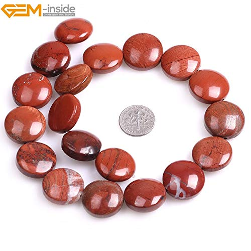 Calvas 20mm Wholesale Natural Coin Beads for Jewelry Making Beads 15'' Selectable Material DIY Beads Necklace Jewellery - (Color: red Jasper)