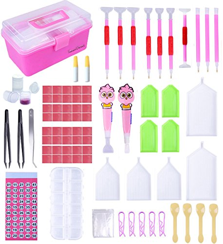 121 Pieces New Design Diamond Painting Accessories Tool Set, Cartoon Led Drill Pen, 5D Diamond Cross Stitch Kit, Diamond Embroidery Storage Box for DIY Art Craft