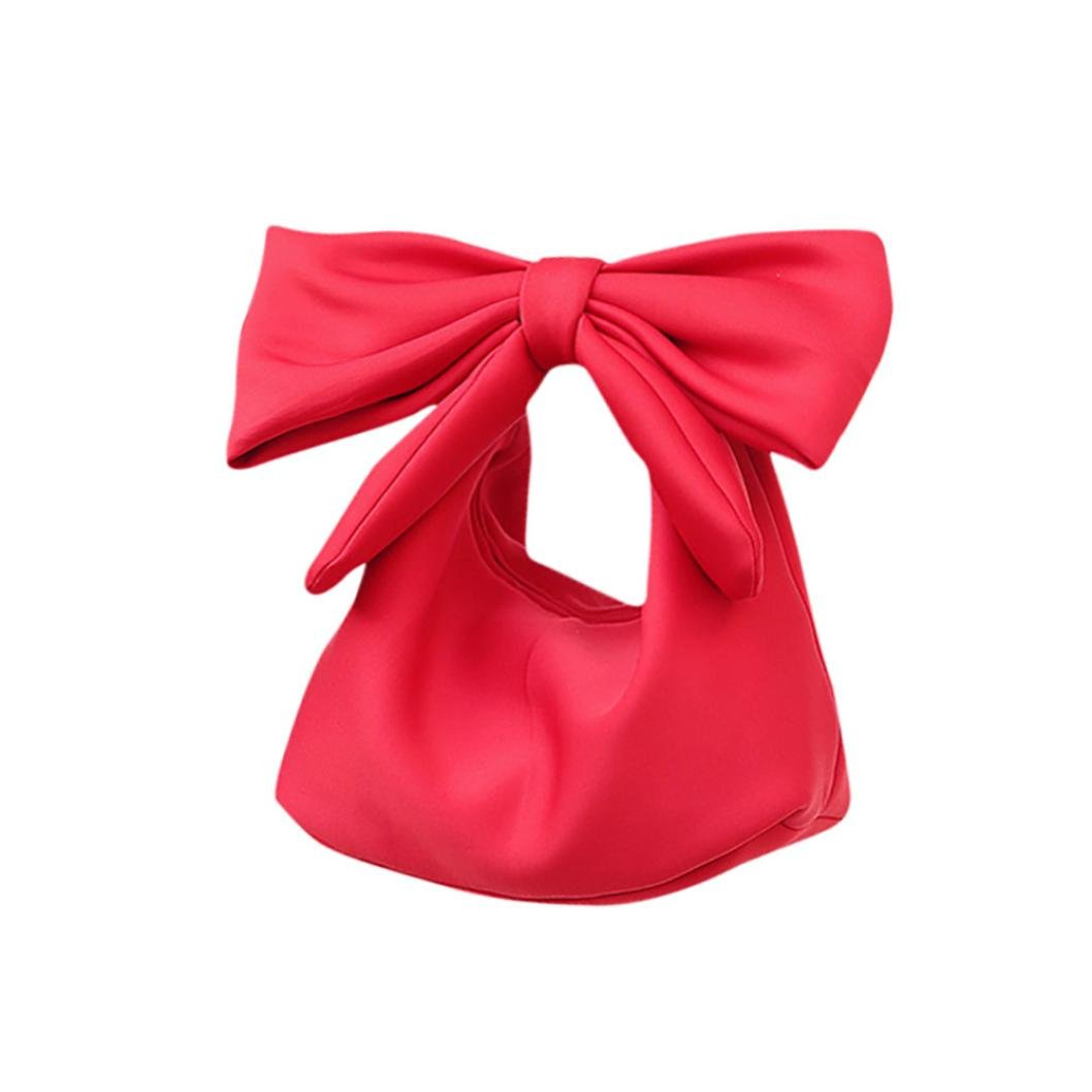 Lovely Bowknot Space Cotton Handbag Cosmetic Bag Fashion Accessories for Women (Red)