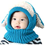 Baby Girls Boys Winter Hat Scarf Earflap Hood Scarves Skull Caps Blue One Size