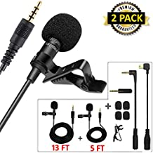 Professional Lavalier Lapel Microphone Kit, QUANFUN 3.5mm Jack Video Recording Mic Clip-on Omnidirectional Condenser Lav Mic for iPhone, iPad,GoPro,DSLR,Camcorder,PC,Smartphones (2PACK, 4M & 1.5M)