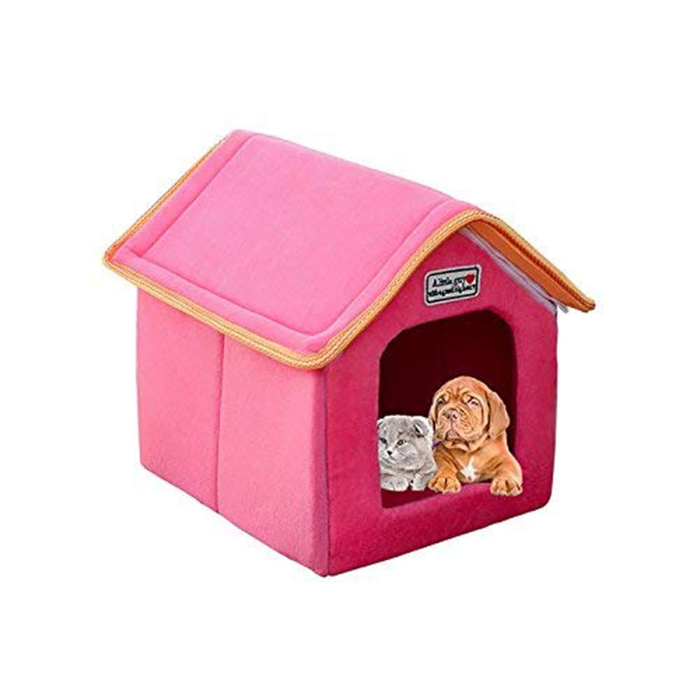 D Small D Small Pet House Foldable Bed with Mat Soft Dog Puppy Kennel Nest Dog Cat Bed Sofa Cushion House for Small Medium Dogs