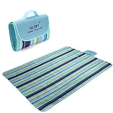 2016 New Glyby Waterproof Picnic mat - Light Weight Portable Foldable Beach Blanket, Perfect for Outdoor, Camping, Children Play - Blue Stripe
