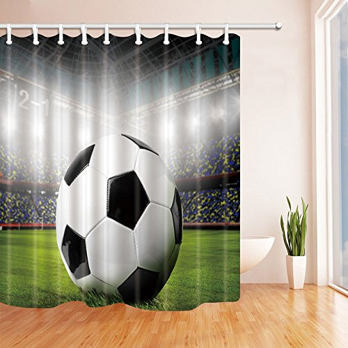 qianliansheji World Cup Theme Shower Curtain Creative Green Black and White Lights Illuminate The Football On The Lawn Personality 70 X 70 in Polyester Fabric 3D Print Bathroom Accessories