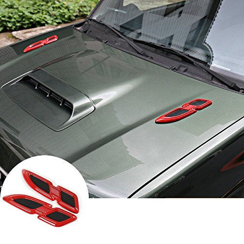 wroadavee Red ABS Front Hood (Side Wing) Air Vent Cover 2pcs for Suzuki Jimny 2007-2015