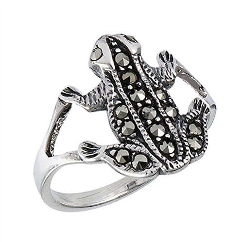 Marcasite Frog - Sterling Silver Vintage Look Marcasite Frog Ring Size 8(Sizes 5,6,7,8,9)