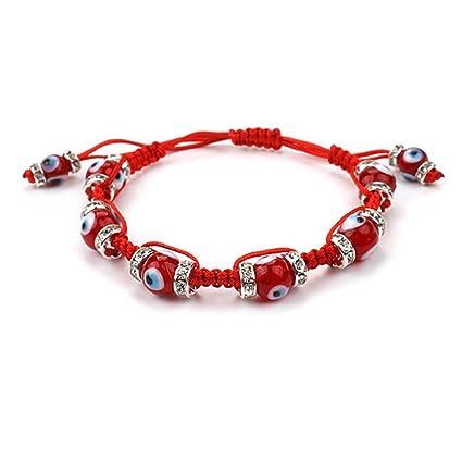 411817ee03c1 Muzuri Fengshui Ajustable Hecho a Mano Mal Ojos Buena Suerte Pulsera de  Hilo Rojo Pulsera talismán de Mal de Ojo Nazar Amuleto protección