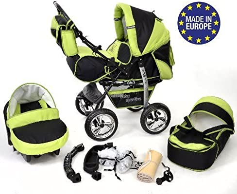 3-in-1 Travel System, Black /& Green Baby Pram with Swivel Wheels Car Seat 3-in-1 Travel System incl Sportive X2 Pushchair /& Accessories