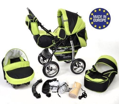 Kamil - Sistema de viaje 3 en 1, silla de paseo, carrito con capazo y silla de coche, RUEDAS ESTÁTICAS y accesorios (Sistema de viaje 3 en 1, negro, verde)