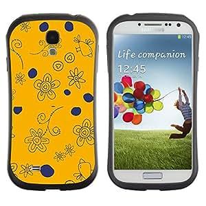 """Hypernova Slim Fit Dual Barniz Protector Caso Case Funda Para SAMSUNG Galaxy S4 IV / i9500 / i9515 / i9505G / SGH-i337 [De azules marinos de Orange Dibujo Aves""""]"""
