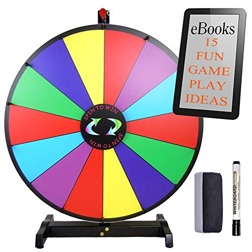 Tabletop 24' Fortune Spinning Prize Wheel Portable and Sturdy Lightweight Frame   Perfect for Carnival Event, Party, and Trade Show   Include Bonus eBook on 15 Creative Ways to Play