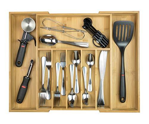 KitchenEdge High Capacity Kitchen Drawer Organizer for Silverware, Flatware and Utensils, Holds 16 Placesettings, 100% Bamboo