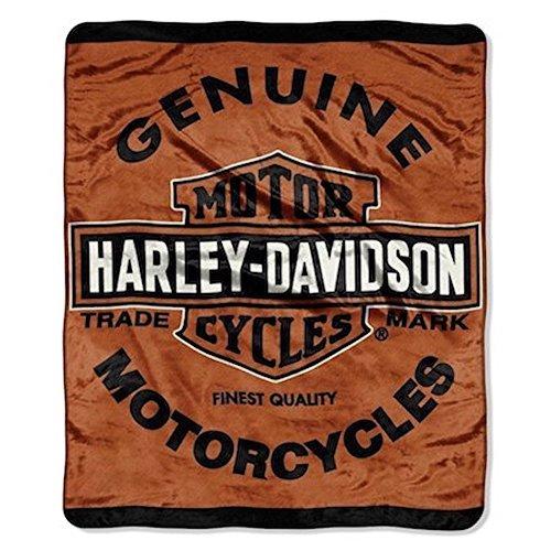 Harley Davidson Motorcycles Queen Size Plush Blanket Genuine Logo (Harley Davidson Gift Basket)