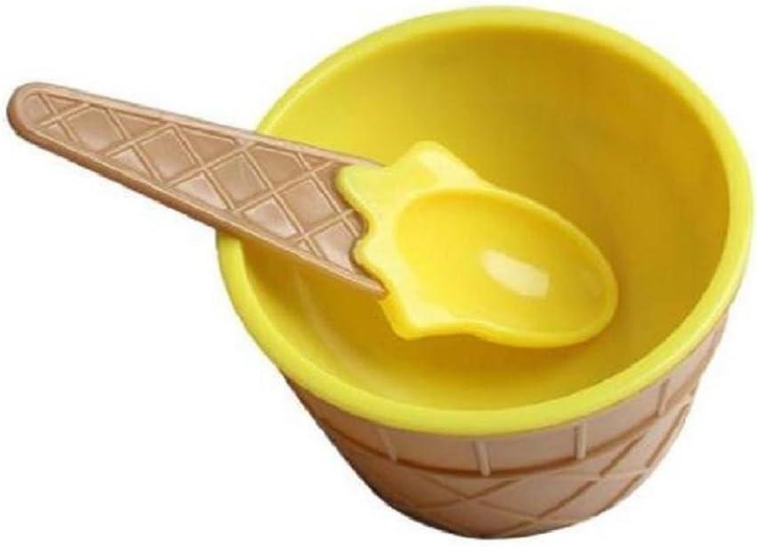 Sukisuki taza de helado para ni/ños talla /única amarillo Cuencos de helado con cuchara