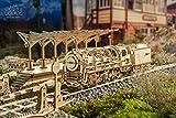 UGEARS Bundle 3 in 1 Locomotive + Railway Platform + Rails Mechanical 3D Puzzle Eco-Friendly Gift Brainteaser DIY Teens Adults Boys Kids Toys
