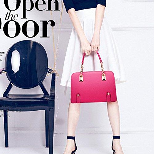 DELEY Mode Frauen Kette Dekorieren Süßigkeiten Farbe Office Tote Handtasche Umhängetasche Plum Red Lxb77Oil