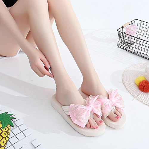 Tie Vacation Flip five Beach Fashionable Slippers Casual Bow Sandals Lace Lace KPHY Thirty On Flops Holiday WfcZStYYR