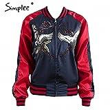 Satin embroidery jacket coat Autumn Winter NEW street jacket women Casual basic baseball jackets streetwear sukajan new Blue Red M