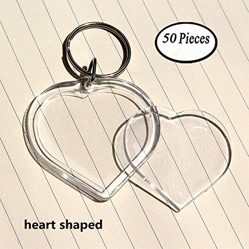 Key Open Heart - King&Pig 50pcs Key Chains Key Rings with Transparent Clear Picture Photo Frames can open Keychains (heart shaped)