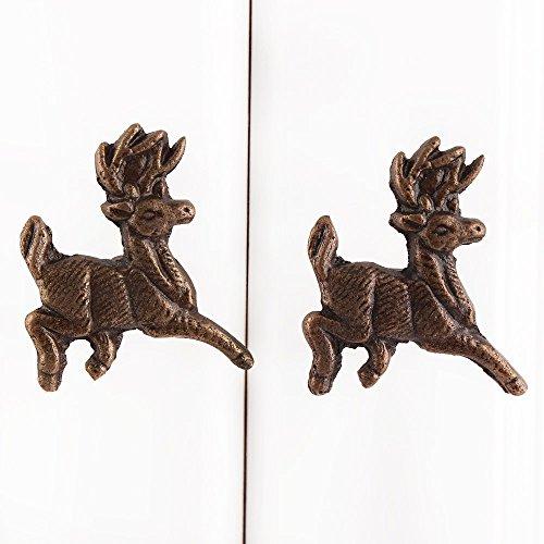 Indianshelf Handmade 10 Piece Iron Antique Deer Racer Artistic Drawer Knobs Dresser Cabinet Pulls Furniture Wardrobe Door Handles Handcrafted Designer Vintage Look MK-86 - Antique Racers