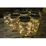 Mason Jar Light, 16 Oz. Pint, Warm White Battery Fairy Lights, Set Of 12