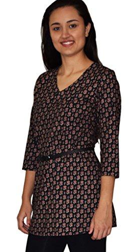 (Ayurvastram KRITI Hand Block Printed Cotton V Neck Tunic: Black/Red 2X)