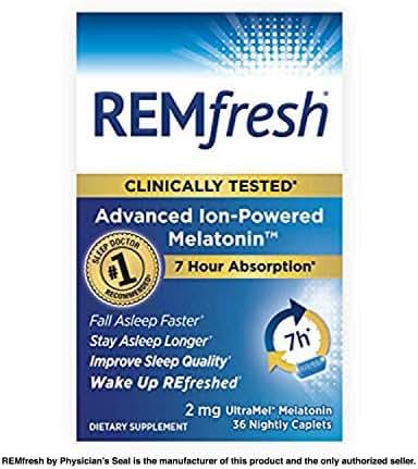 REMfresh 2mg Advanced Melatonin Sleep Aid Supplement (36 Caplets)   Drug-Free, Sleep Aid to Support Restful, Natural Sleep   #1 Doctor Recommended   Pharmaceutical-Grade, Ultrapure Melatonin