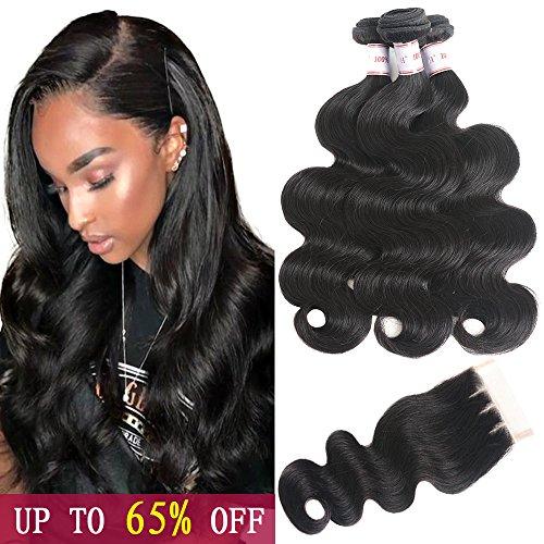 HPH Brazilian Virgin Hair Body Wave 3 Bundles With Closure (14 16 18+12 Three Part) 100% Unprocessed Brazilian Body Wave Human Hair 350g/lot Natural Black Brazilian Hair Bundles With Lace ()