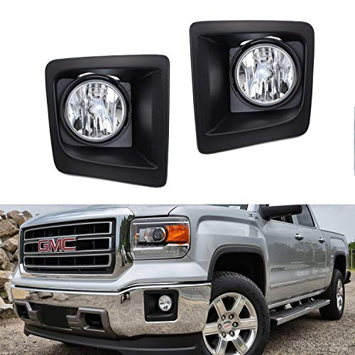 iJDMTOY Clear Lens Fog Lights Foglamp Kit with Halogen Bulbs, Bezel Covers, On/Off Switch, Wiring Relay & Brackets For 2014-2015 GMC Sierra 1500