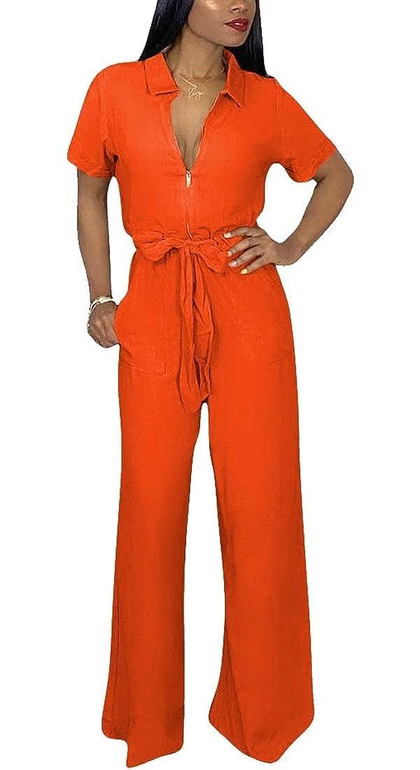 GAGA Womens Summer Short Sleeve Front Zipper V-Neck Long Pants Romper Jumpsuit
