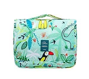 2018 New Hanging Toiletry Bag Bathroom Organizer Travel Nylon Portable Cosmetic Bag for Women and Men (Animal World)