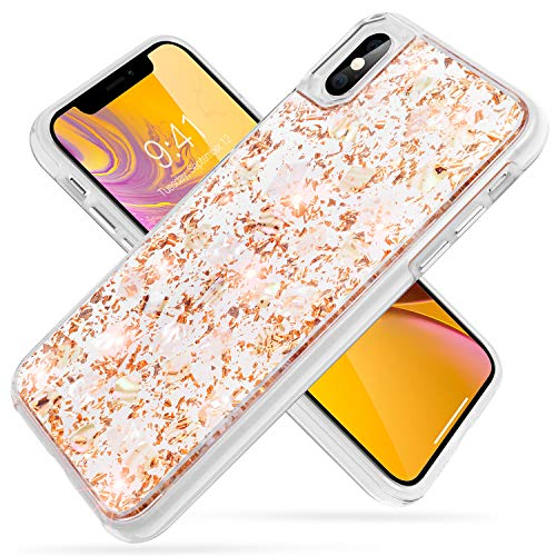 iPhone Xs Max Case,SQMCase Glitter Bling Luxury [Dried Flower Gold Foil Embedded] Hybrid Flexible TPU Bumper with Hard Plastic Back 2 in 1 Protective Shock-Absorbing Case for iPhone Xs Max-Shiny Gold