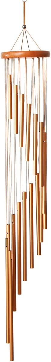 UNIME Gold Outdoor Wind Chimes,36 inches Wind Chimes with S Hook,a Quality Gift for Garden, Patio, Balcony and Indoor Decor(18 Tubes,Golden)
