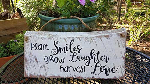 CELYCASY Solid Cedar Wood Garden Sign.Plant Smiles, Grow Laughter, Harvest Love, New, Hand Painted