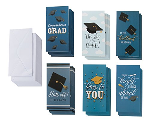 Photo Card Pack (36-Pack Graduation Cards – Money Cards, 6 Designs, Money Gift Card Holder Ideal for High School, College and More, Graduation Party Favors, Envelopes Included, 3.5 x 7.25 Inches)