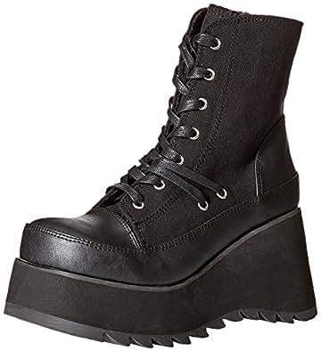 Demonia Women's Scene-50 Ankle Boot, Black Vegan Leather-Canvas, 10 M US