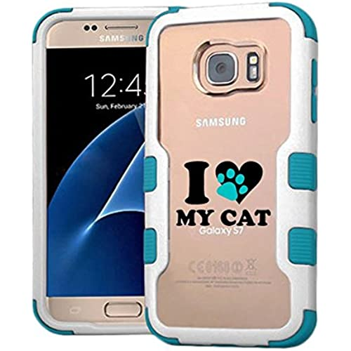 Galaxy S7 Case I Love My Cat, Extra Shock-Absorb Clear back panel + Engineered TPU bumper 3 layer protection for Samsung Galaxy S7 (New 2016) Blue Sales