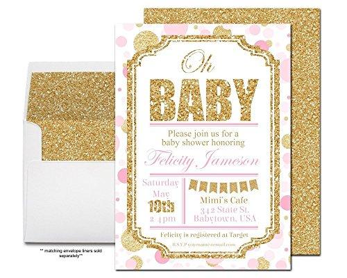 Pink and Gold Girls Baby Shower Invitati - Elegant Baby Shower Invitations Shopping Results