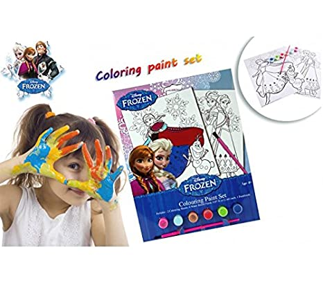 Media Wave Store Set Da Colorare Frozen Con Pennello Acquerelli E