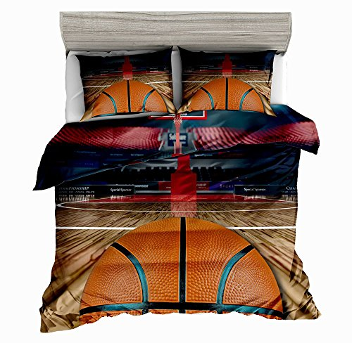 SxinHome Basketball Court Printed Full Duvet Cover Set for Teens Boys Girls,3D Bedding Set,3pcs 1 Duvet Cover 2 Pillowcases(no Comforter inside) By (Jordan Bedding)
