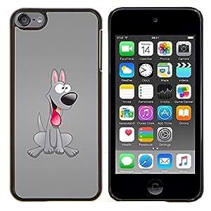 TECHCASE---Cubierta de la caja de protección para la piel dura ** Apple iPod Touch 6 6th Touch6 ** --Grey Dog friendly Lengua 3D Arte Historieta rosada