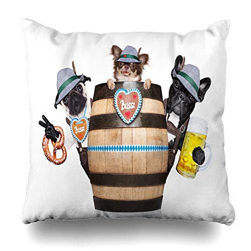 Ahawoso Throw Pillow Covers Lederhose Pretzel Bavarian Dog Couple Behind Beer Barrel Glass Food Drink Bar Bavaria Bayerisch Fest Home Decor Zippered Pillowcase Square Size 20 x 20 Inches Cushion Case