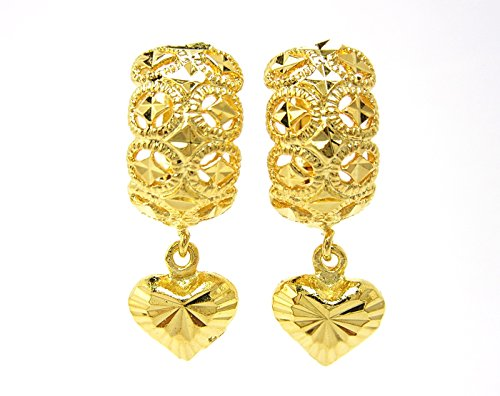 (Beautiful Detail Lever-back Drop Heart Earrings 18k Gold-plated Thai Style Jewelry)