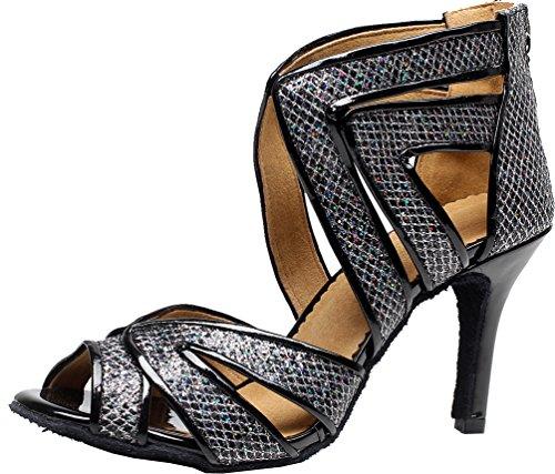 Latin Sexy Party wedding 7032 Womens JJ Tango PU Dance Ballroom Peep Dance CFP Black shoes toe atwqHIx