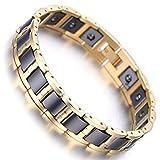 Men's Gold Tungsten Black Ceramic Magnetic Therapy Germanium Health Link Bracelet Improve Insomnia