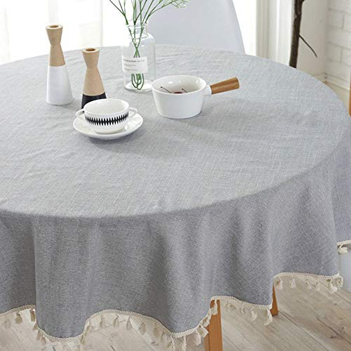 Lahome Solid Color Tassel Tablecloth – Heavy Weight Cotton Linen Round Table Cover Kitchen Dining Room Restaurant Party Decoration (Gray, Round – 60″)